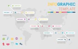 Molde de Infographic com mapa do mundo ilustração stock