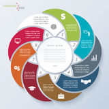 Molde de Infographic com nove segmentos Imagens de Stock