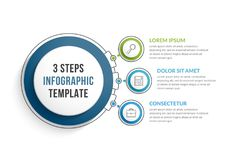 Molde de Infographic com três etapas Fotos de Stock