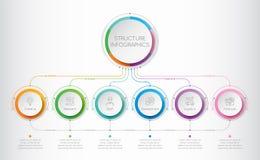 Molde de Infographics com elementos de seis estruturas do negócio Fotos de Stock Royalty Free