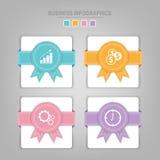 Molde de Infographics de quatro etapas em quadrados Fotos de Stock