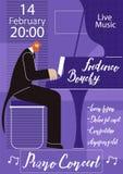 Molde de Live Concert Flat Vetora Poster do piano ilustração stock