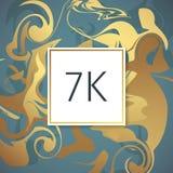 Molde de mármore do projeto dos agradecimentos do vetor do ouro para amigos e seguidores da rede Obrigado cartão de 7 seguidores  Fotos de Stock