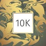 Molde de mármore do projeto dos agradecimentos do vetor do ouro para amigos e seguidores da rede Obrigado cartão de 10 seguidores Fotografia de Stock