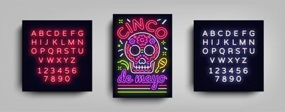 Molde de néon do estilo do projeto do cartaz de Cinco de Mayo Sinal de néon, inseto de néon claro brilhante, feriado mexicano Con ilustração stock