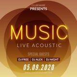 Molde de néon do fundo do cartaz de Live Music Concert Acoustic Party com o inseto de néon do sinal do texto ilustração stock