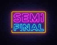 Molde de néon semi final do projeto do vetor do texto Logotipo de néon, tendência colorida do projeto moderno do elemento claro d ilustração do vetor