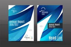 Molde de tampa azul do informe anual da onda ilustração royalty free