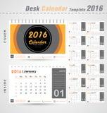 Molde de tampa moderno do projeto do círculo do vetor do calendário de mesa 2016 para a ilustração do escritório Fotos de Stock Royalty Free