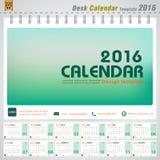 Molde de tampa verde moderno do projeto de conceito do vetor do calendário de mesa 2016 para o planejador do escritório Imagem de Stock Royalty Free
