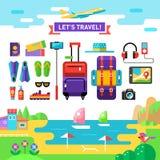 Molde de viagem Acessórios dos vocações liso ilustração stock