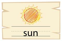 Molde de Wordcard para o sol da palavra ilustração royalty free