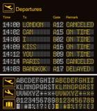 Molde digital real?stico do aeroporto da placa do diodo emissor de luz Fonte digital amarela do diodo emissor de luz do vetor 3D  ilustração royalty free