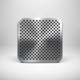 Molde do ícone do App da tecnologia com textura do metal Ilustração Royalty Free
