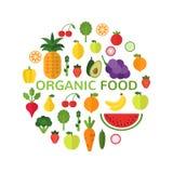 Molde do alimento biológico Conceito saudável da refeição isolado no fundo branco Forma do círculo enchida com os frutos saudávei ilustração do vetor