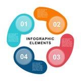 Molde do círculo de Infographic com 4 etapas, porções, opções, setores ou fases Pode ser usado para o gráfico, carta de torta, tr Fotos de Stock