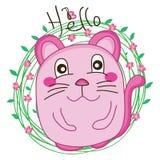 Molde do círculo do tshirt do gato olá! Foto de Stock Royalty Free