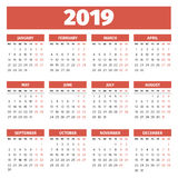 Molde 2019 do calendário Foto de Stock Royalty Free