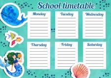 Molde do calendário da escola com dias da semana e de espaços livres para notas Entregue a ilustração tirada da aquarela com anim ilustração stock