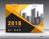 Molde 2018 do calendário da tampa Disposição da tampa de livro amarelo ilustração do vetor