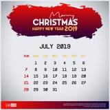 Molde do calendário 2019 de julho Feliz Natal e fundo vermelho do encabe?amento do ano novo feliz ilustração do vetor