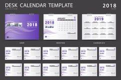Molde 2018 do calendário de mesa Grupo de 12 meses Foto de Stock Royalty Free