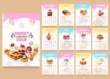 Molde 2018 do calendário do vetor das sobremesas da padaria ilustração royalty free