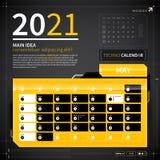 Molde do calendário no estilo do techno Fotografia de Stock