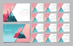 Molde do calendário por 2018 anos Disposição de projeto do vetor, negócio Fotos de Stock Royalty Free