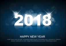 Molde do cartão do ano novo 2018 Ilustração Stock