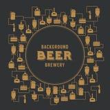Molde do cartão com elemento da cervejaria da cerveja Vetor ilustração stock
