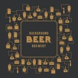 Molde do cartão com elemento da cervejaria da cerveja Vetor Imagens de Stock Royalty Free