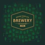 Molde do cartão com elemento da cervejaria da cerveja Vetor ilustração do vetor