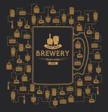 Molde do cartão com elemento da cervejaria da cerveja Vetor Imagens de Stock