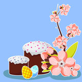 Molde do cartão da Páscoa com flor do abricó, o bolo tradicional e os ovos pintados Ilustração do vetor Imagem de Stock Royalty Free