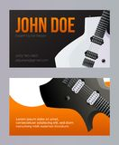 Molde do cartão da visita da oficina da guitarra Vetor eps10 foto de stock