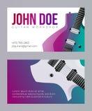 Molde do cartão da visita da oficina da guitarra Vetor eps10 foto de stock royalty free