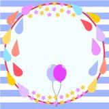 Molde do cartão de aniversário do quadro do círculo ilustração do vetor