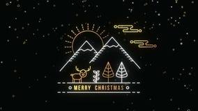 Molde do cartão de Natal com a floresta do esboço do ouro video estoque