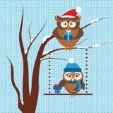 Molde do cartão de Natal com pares de corujas ilustração stock