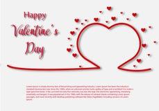 Molde do cartão de Valentine Day, projeto com coração vermelho, conceito da celebração do dia de são valentim ilustração do vetor