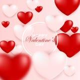 Molde do cartão de Valentine Day, projeto com coração vermelho, dia de são valentim ilustração stock
