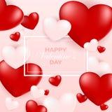 Molde do cartão de Valentine Day, projeto com coração vermelho, dia de são valentim ilustração royalty free