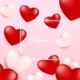Molde do cartão de Valentine Day, projeto com coração vermelho, dia de são valentim ilustração do vetor