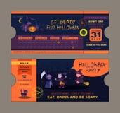 Molde do cartão do bilhete do partido de Dia das Bruxas Fotos de Stock Royalty Free