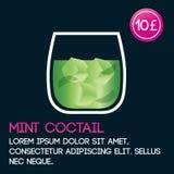 Molde do cartão do cocktail da hortelã com preço e fundo liso Imagens de Stock Royalty Free