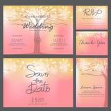 Molde do cartão do convite do casamento, vetor Imagens de Stock Royalty Free
