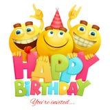Molde do cartão do convite do feliz aniversario com três caráteres do emoji foto de stock royalty free