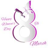 Molde do cartão do dia das mulheres de março Imagem de Stock Royalty Free