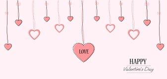 Molde do cartão do dia de Valentim No fundo bonito com corações e no espaço para seu texto Foto de Stock Royalty Free
